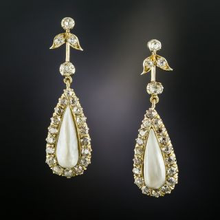 Antique Freshwater Pearl and Diamond Drop Earrings - 2