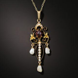 Antique Garnet and Pearl Pendant - 2