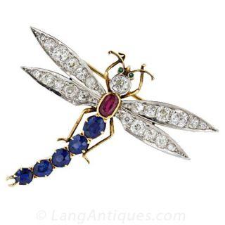 Antique Gem-Set Dragonfly Brooch - 1