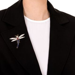 Antique Gem-Set Dragonfly Brooch
