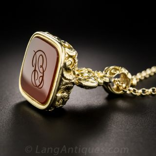 Antique Gold and Carnelian Fob