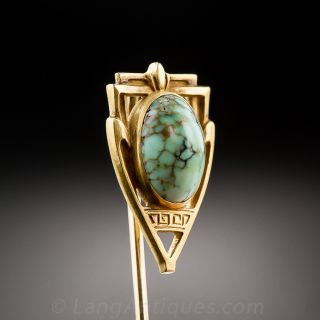 Antique Gold and Turquoise Stickpin