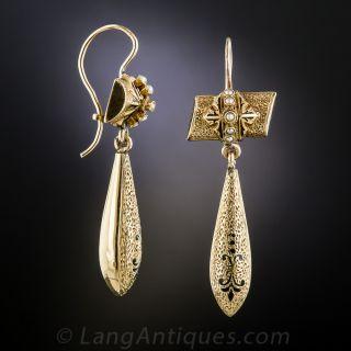 Antique Gold, Enamel and Pearl Drop Earrings