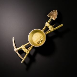 Vintage Gold Miner Shovel and Pick Brooch - 2