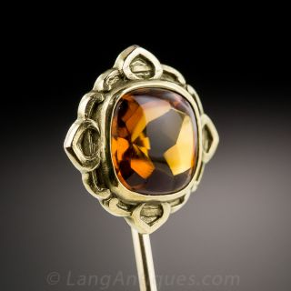 Antique Golden Citrine Stick Pin