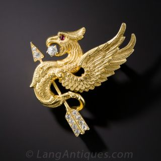 Antique Griffin and Diamond Arrow Pin