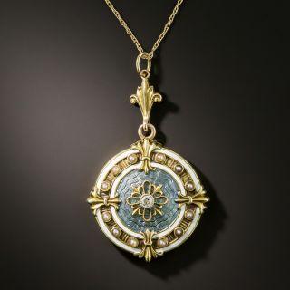 Antique Guilloche Enamel, Diamond and Pearl Locket by Allsopp-Bliss - 3