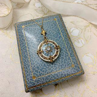 Antique Guilloche Enamel, Diamond and Pearl Locket by Allsopp-Bliss
