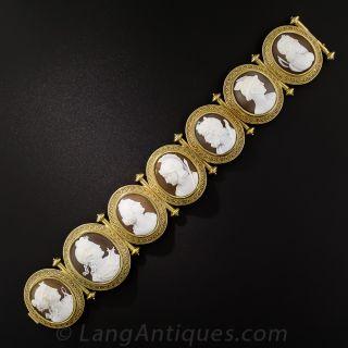 Antique Italian 7 Cameo Mythological Bracelet