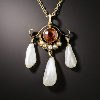 Antique Madeira Citrine and Pearl Necklace - 2