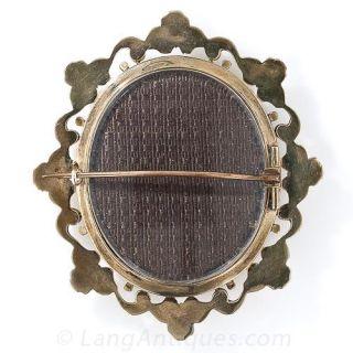 Antique 'Madonna della Seggiola' Framed Enamel Miniature Brooch