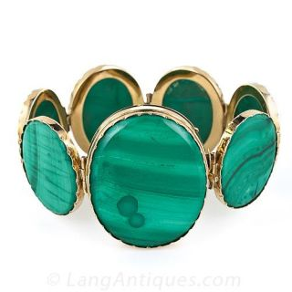 Antique Malachite Bracelet - Probably Russian - 1
