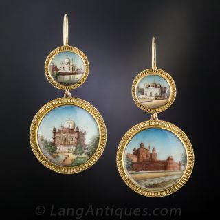 Antique Miniature India Landmark Earrings - 2