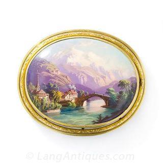 Antique Mont Blanc Swiss Enamel Brooch