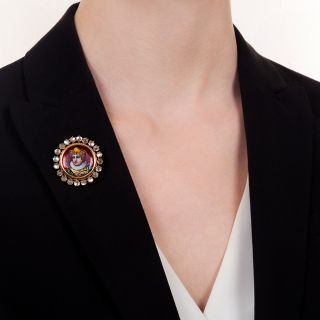 Antique Moonstone and Enamel Portrait Pendant/Brooch