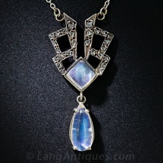 Antique Moonstone and Rose-Cut Diamond Necklace