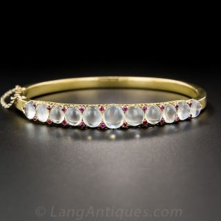 Antique Moonstone and Ruby Bangle Bracelet 18K