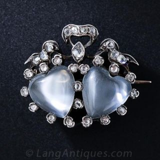 Antique Moonstone Double Heart Pin - 1