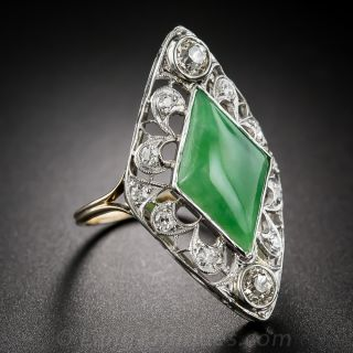 Antique Natural Jade and Diamond Dinner Ring