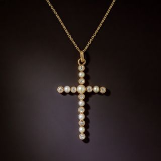 Antique Natural Pearl and Diamond Cross Pendant - 1