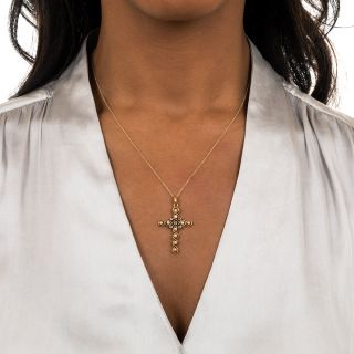 Antique Natural Pearl and Diamond Cross Pendant