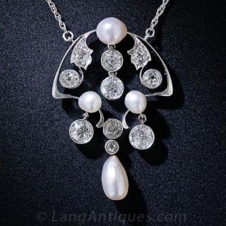 Antique Natural Pearl and Diamond Necklace - 1