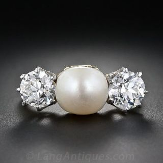 Antique Natural Pearl and Diamond Three-Stone Ring - 1