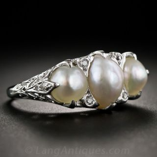 Antique Natural Pearl and Platinum Ring