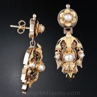 Antique Natural Pearl Drop Earrings Circa 1890