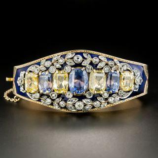 Antique No-Heat Blue and Yellow Sapphire and Diamond Cobalt Enamel Bangle Bracelet  - 2