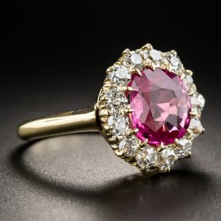Antique No-Heat Pink Sapphire Diamond Halo Ring