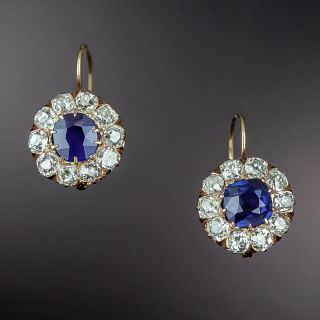 Antique No-Heat Sapphire and Diamond Cluster Earrings - 1