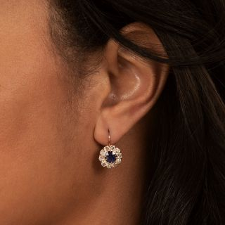 Antique No-Heat Sapphire and Diamond Cluster Earrings