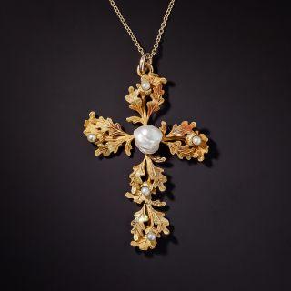 Antique Oak Leaf and Acorn Pearl Cross - 1