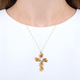 Antique Oak Leaf and Acorn Pearl Cross