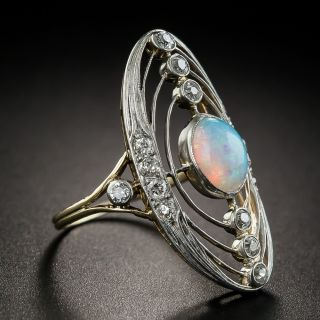 Antique Opal and Diamond Astronomical Ring