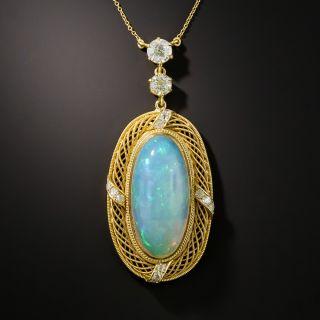 Antique Opal and Diamond Pendant Necklace