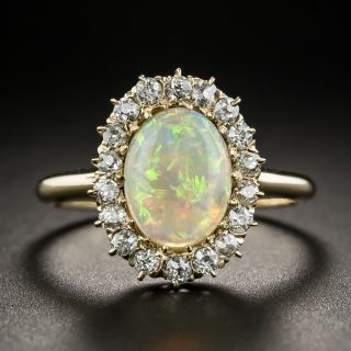 Antique Opal Diamond Halo Ring - 1