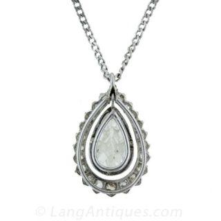Antique Pear Cut Diamond Pendant