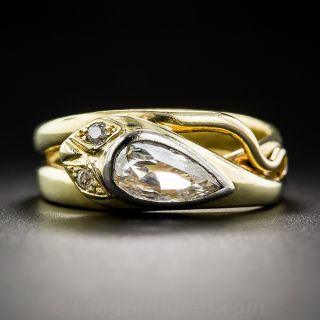 Antique Pear Shape Diamond Snake Ring