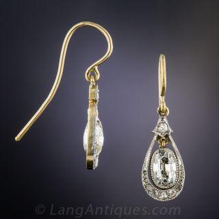 Antique Pear-Shaped Diamond Drop Earrings