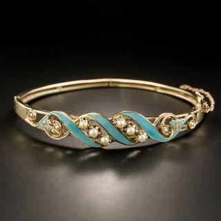 Antique Pearl and Turquoise Enamel Bangle Bracelet - 1
