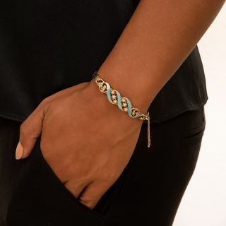 Antique Pearl and Turquoise Enamel Bangle Bracelet