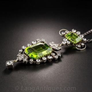 Antique Peridot and Diamond Pendant