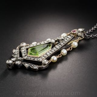 Antique Peridot, Diamond and Natural Pearl Pendant