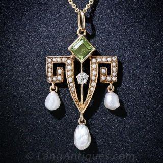 Antique Peridot, Pearl and Diamond Pendant