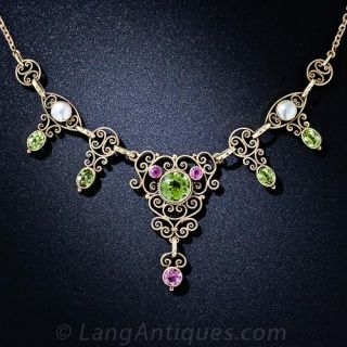Antique Peridot, Pink Tourmaline and Natural Pearl Necklace