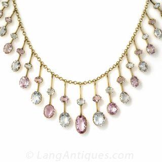 Antique Pink Topaz and Aquamarine Fringe Necklace - 1