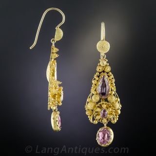 Antique Pink Topaz Cannetille Drop Earrings