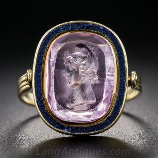 Antique Pink Topaz Intaglio Swivel-Top Ring